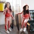 2017 Маленькие Девочки Весна Одежда Набор Детей С Длинным Рукавом Сращивание Спортивный Костюм Baby Дети Случайный Спортивный Костюм детская Одежда G533