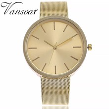 2017 New Popular Vansvar Brand Silver And Rose Gold Mesh Band Wrist Noble Watch Business Women Quartz Watches Gift Drop Shipping