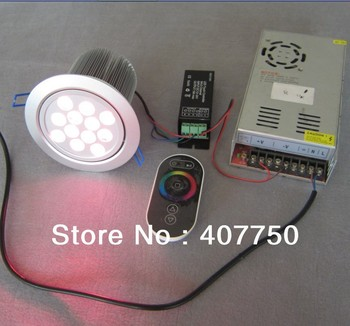 free shipping to USA  4 wires connection RF wireless control  rgb 12X3W led down  light DC 24V used for hotels and meeting halls
