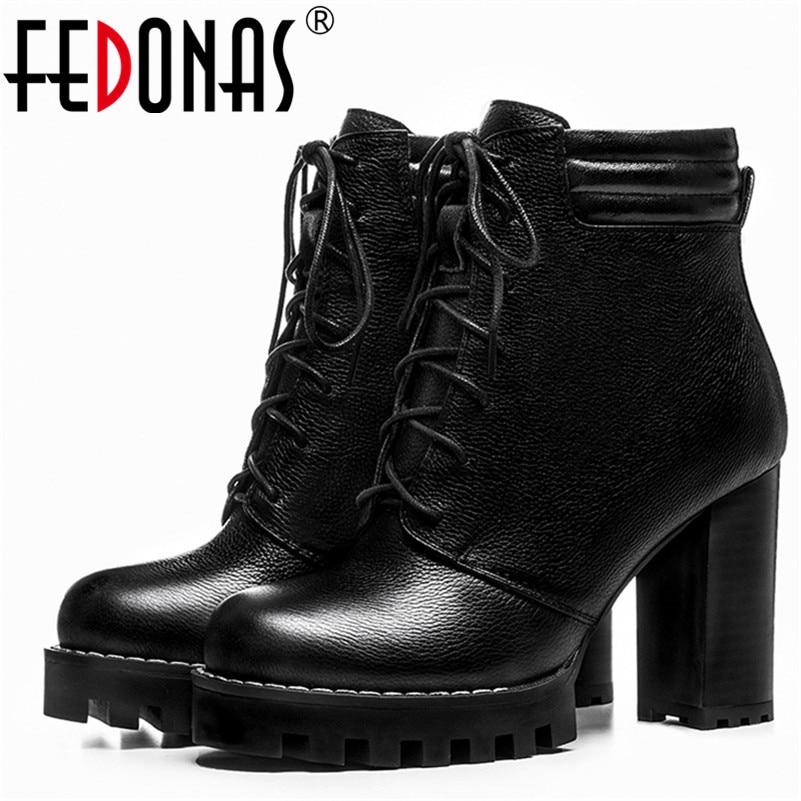 Fedonas أزياء المرأة حقيقي جلد الغزال حذاء امرأة سميكة عالية الكعب الكاحل كورس تعادل منصات الأحذية مارتن