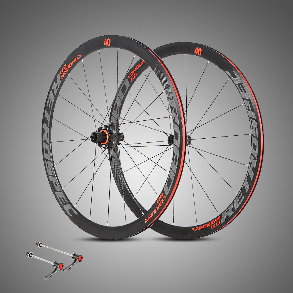 Ultra-light aluminum alloy <font><b>700C</b></font> road bike wheelset 40mm rim sealed bearing carbon fiber hub colorful reflective <font><b>wheel</b></font> set image