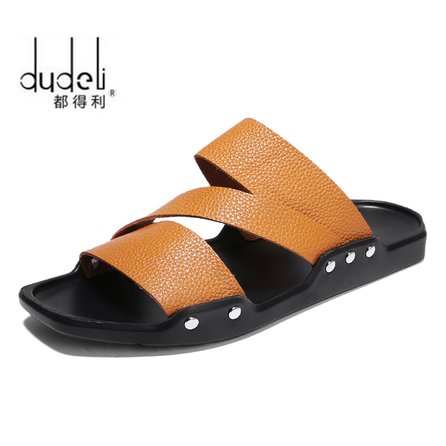 74d3a0da05198 DUDELI 2018 New Men Genuine Leather Holiday Beach Shoes Flip Flops Men's  Casual Flat Shoes Sandals Summer Slippers For Men