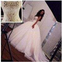 Сверкающий Кристалл бальное платье свадебное платье 2018 Милая бретельках бусы vestido de noiva Свадебное платье халат de mariée