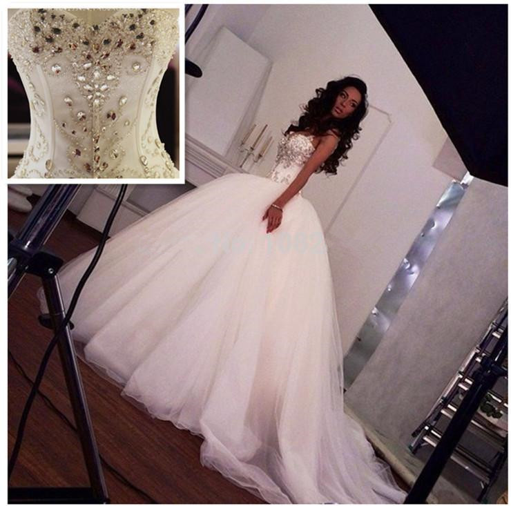 Sparkling Crystal Ball Gown Wedding Dress 2018 Sweetheart Spaghetti Straps Beads vestido de noiva Bridal Dress robe de mariee