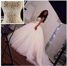 Princese kristāla bumba kleita mežģīņu up kāzu kleita mīļotā korsete Bodice pērles balta tilla tiesas vilciena līgavas kleita