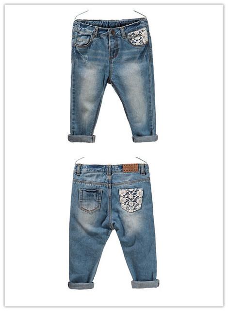 Hot sale da moda roupas de bebê crianças meninas jeans skinny 100% algodão calças do bebê rendas frete grátis