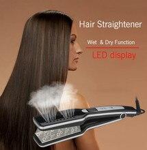 New Professional Hair Straightener LED Display Wet & Dry Flat Iron Steam Straightening Irons Ceramic hair iron styling tools