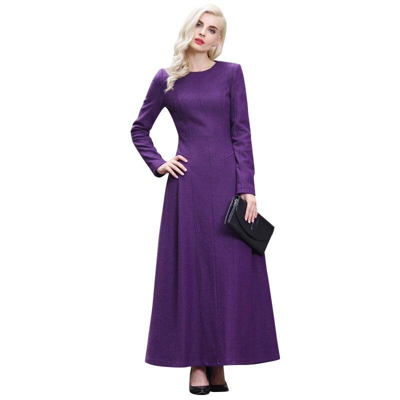 ①M-XXXL Otoño Invierno vestido de lana púrpura más el tamaño de ...