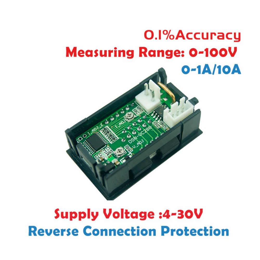 2 In1 100v 10a Dc Digital Voltmeter Ammeter Blue   Red