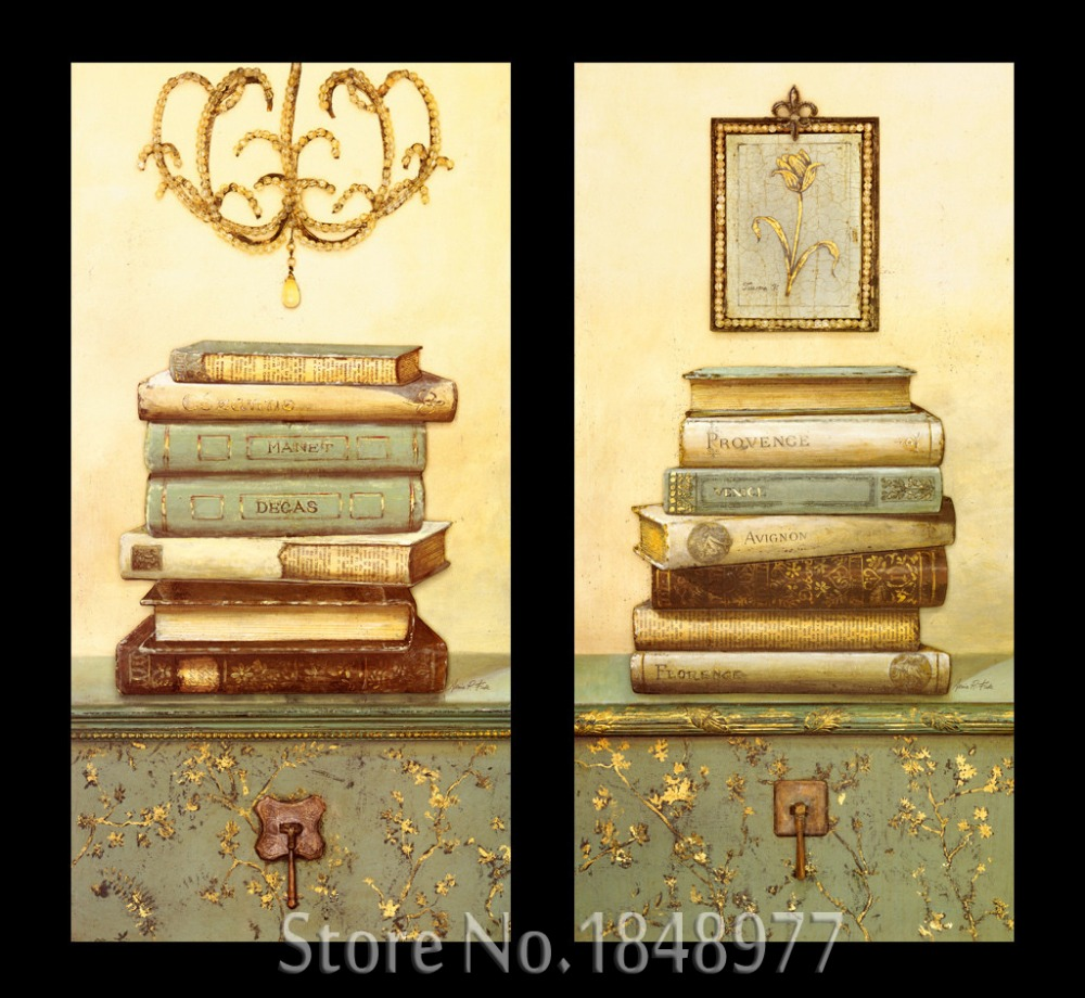 Online Shop 2 Pieces Retro Abstract Paintings Still life Books ...