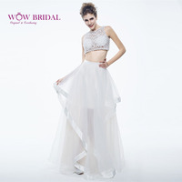 Wowbridal Sexy Two Piece Prom Dresses 2016 O Neck Cross Hollowed Beaded Shirt Organza Tiered A Line Ruffles Women Prom Dress