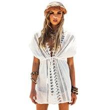 Bohemia dress blanco de manga corta cuello v con ropa de playa de encaje 41510 estilo sexy beach protector solar de las mujeres ropa de playa de vacaciones