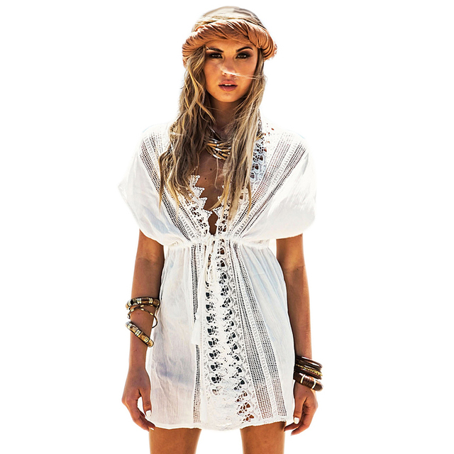c116162d9443e Bohemian Dress White Short Sleeve V Neck With Lace Beachwear 41510 Sexy Beach  Style sunscreen vacation Women Beachwear