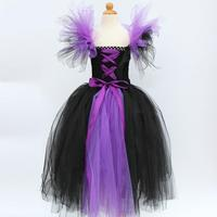 New Evil Queen Girls Halloween Tutu Dress Children Cosplay Witch Costume Fancy Kids Girl Birthday Party Princess Dress 2 12years
