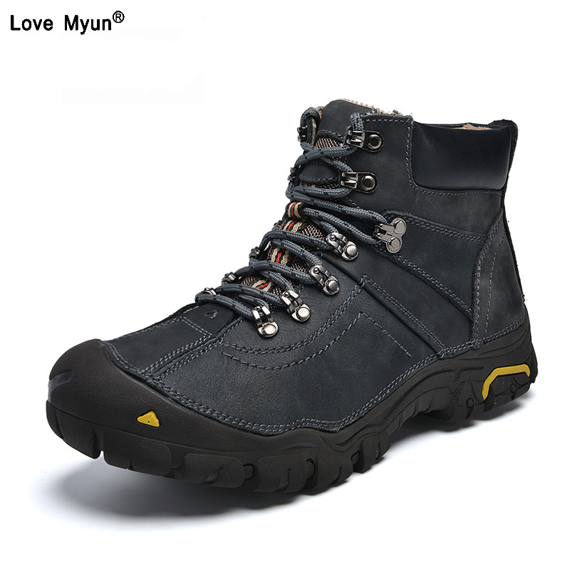 все цены на Genuine Leather Shoes Men Russian style Men Snow Boots Plus Size Top Quality Leather Ankle Boots Lace-up Warm Winter Shoes412 онлайн