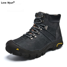 Genuine Leather Shoes Men Russian style Men Snow Boots Plus Size Top Quality Leather Ankle Boots Lace-up Warm Winter Shoes412