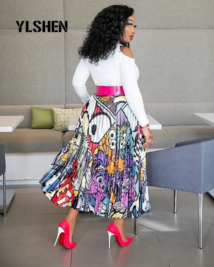 African Dresses For Women African Clothes Africa Skirt Print Dashiki Ladies Clothing Bazin Riche Dress Plus Size Robe Femme 2019