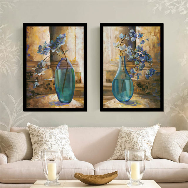 Gorgeous Beautiful Flowers Priceless Antique Crystal Vase Canvas Oil Painting Art Print Poster Living Dining Room
