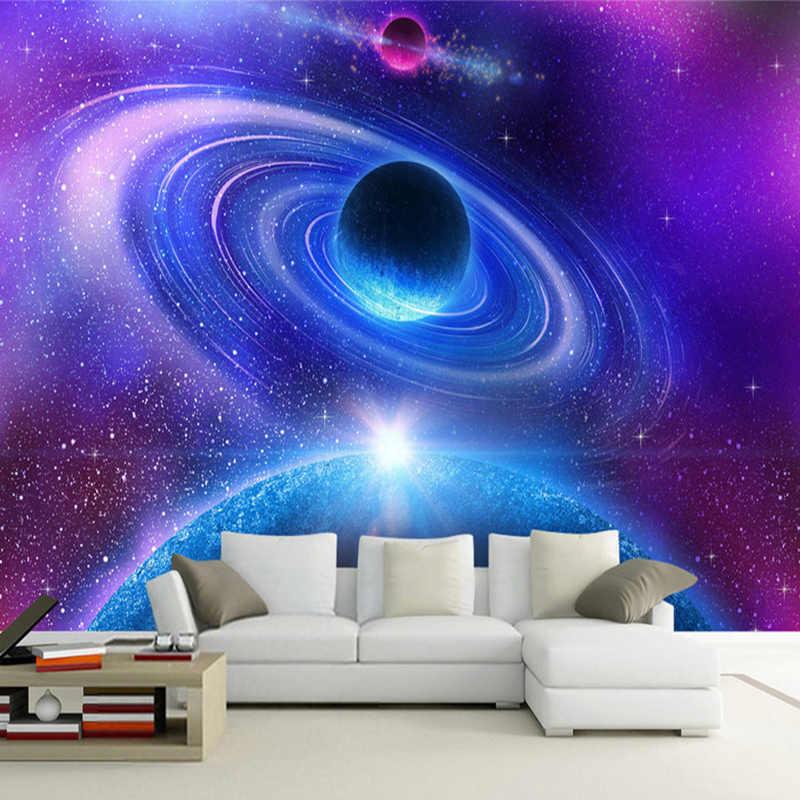 Moderno 3D espacio estéreo Luna universo murales De fotos Papel habitación chico dormitorio pared De fondo pintura Papel De Parede