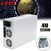 6GPU 1250W Open Air Mining Frame Rig Graphics Case Tower 4U Crypto Coin For 6/8GPU Computer Case For BTC Mining Server For Fans