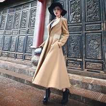 2016 Women's New Fashion Ultra Long Winter Coat Solid Color Turn-down Collar Vintage Female Overcoat Single Button Woolen Jacket