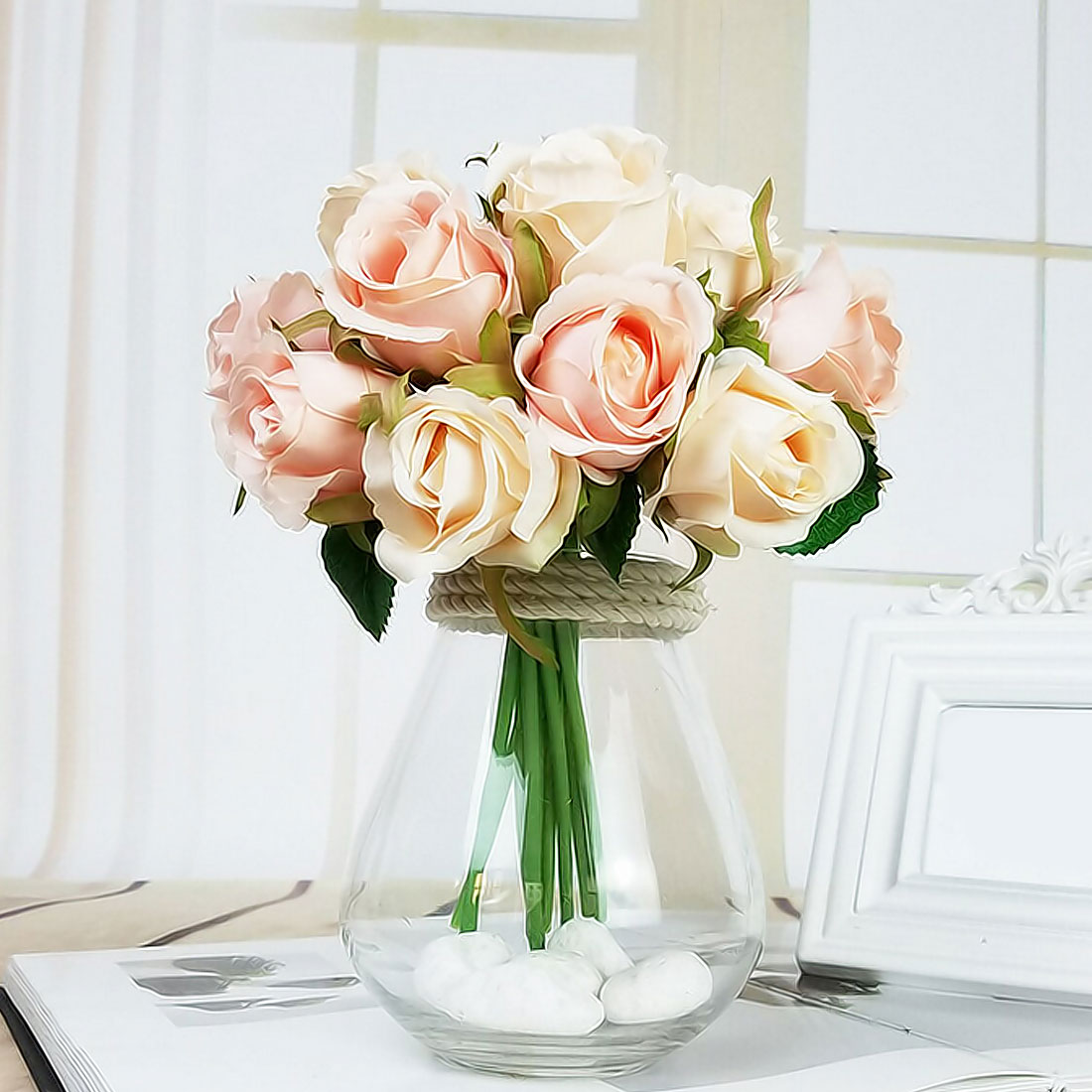 1pcs 12 Heads Blossom Decoration Flower Bouquet Artificial Fake Roses Blooms