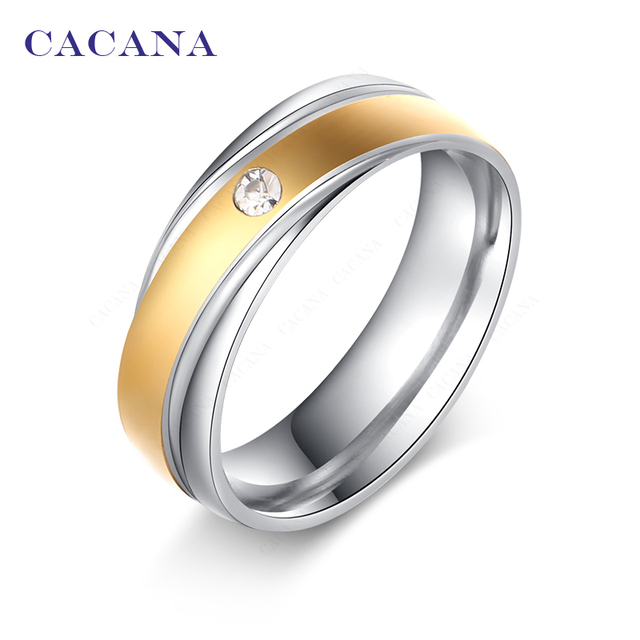 CACANA Titanium Stainless Steel Rings For Women Fashion Jewelry Wholesale NO.R11