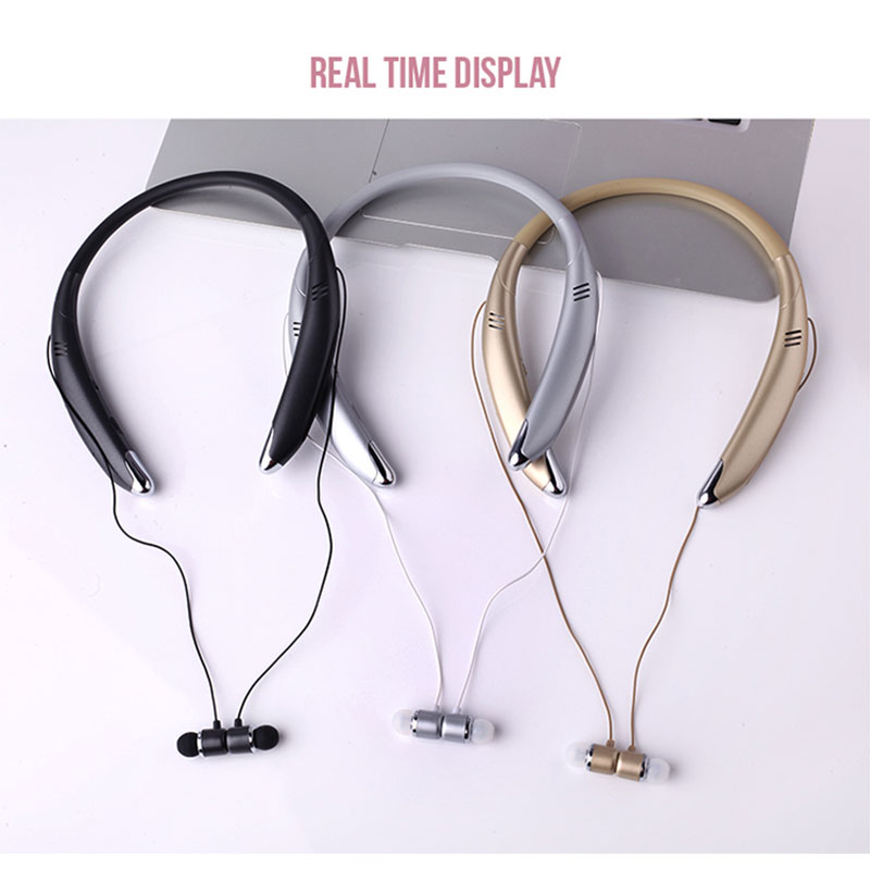 V8 Bluetooth Headphones Built-in Mic Wireless Lightweight Neckband Headset Magnetic Sport Earphone