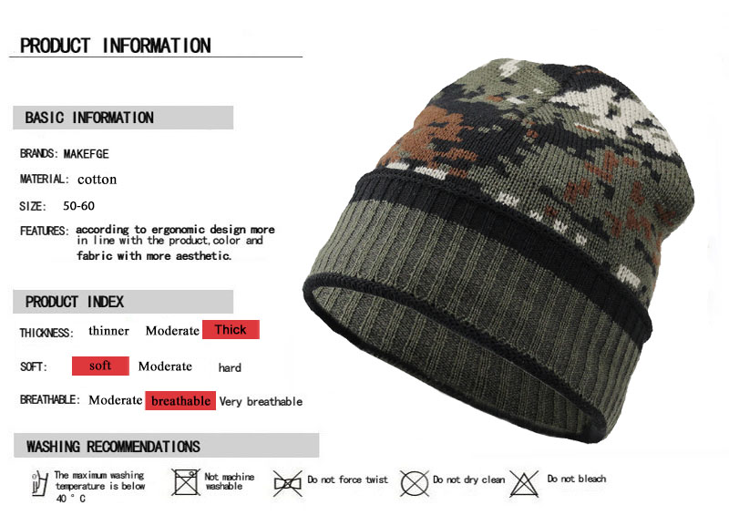 c6a7dcf5b2f Thicken Fleece Lining army Camouflage Hat for Men Hunting CS Winter hat  Warm Beanies Knit Camo Ski Hats Winter climbing fishing