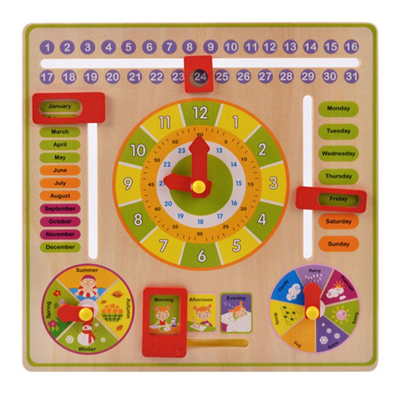 Baby Wooden Toy Children Learning Developmental Multifunction Flap Abacus Wood Clock Kids Intelligence Educational Toy Gift(China)