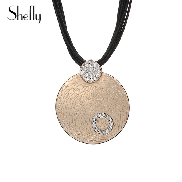 1119243313d New Vintage Round Pendant Crystal Necklace Silver Rose Gold Colour  Multi-layer Rope Chain Clear Crystal Necklace For Women Kolye