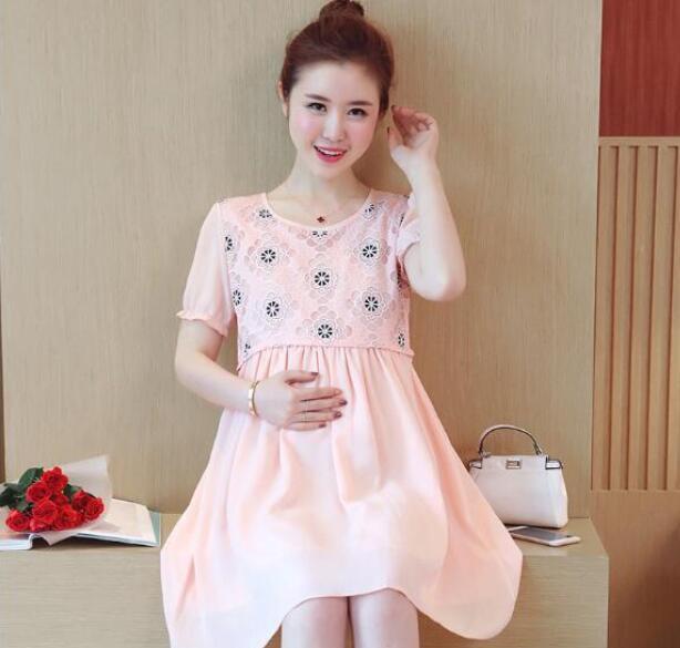 2019 beauty dress lace pregnant women short sleeved dress long skirt
