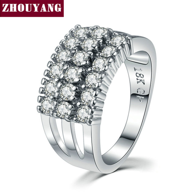 Silver Color Luxury Bijoux Fashion Wedding&Engagement Ring Made With Cubic Zirconia Jewelry For Women Wholesale ZYR517