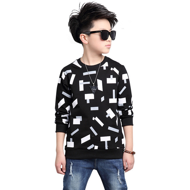 O-neck Tops for Boys Cotton T-shirts Children Spring T Autumn Kids Casual Clothes Big Size Infant Tees 6 8 9 12 15 Fall Clothing