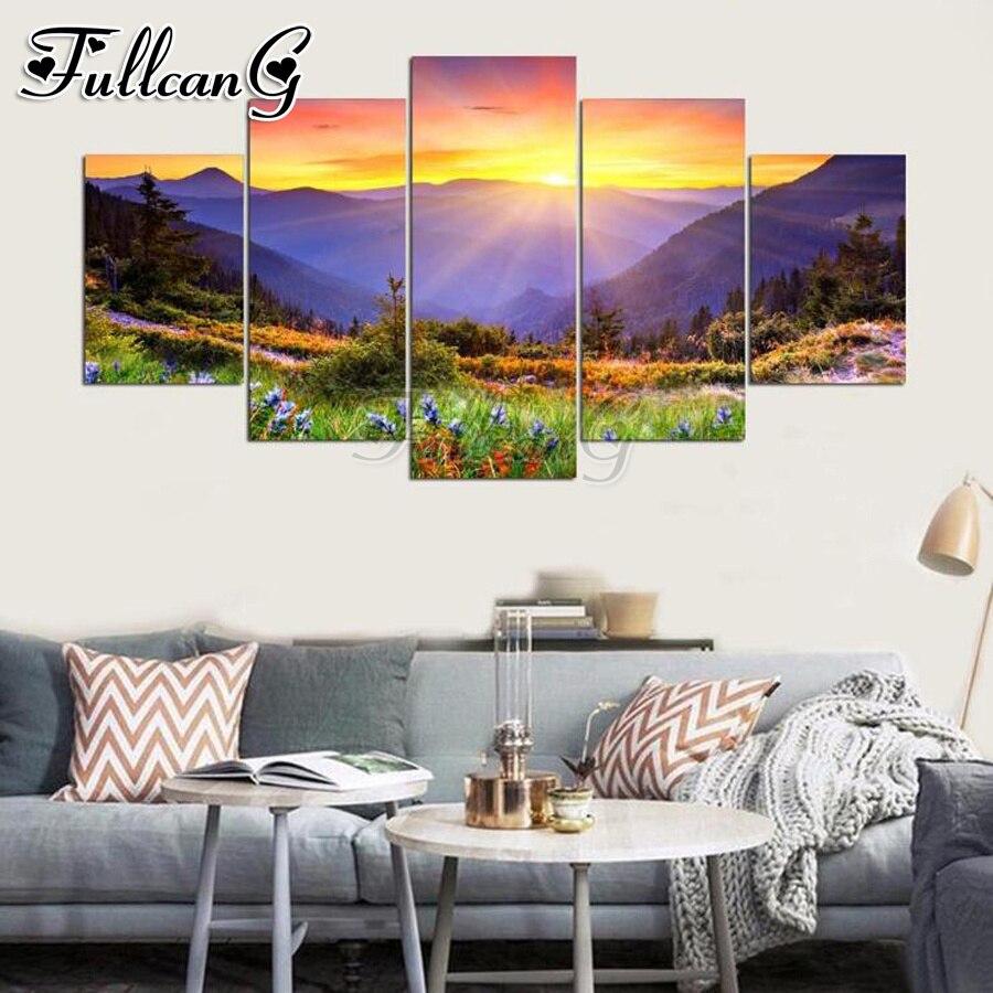 FULLCANG bricolage plein forage 5 panneau diamant peinture coucher de soleil nature paysage carré/rond mazayka broderie vente mur décor FC1136