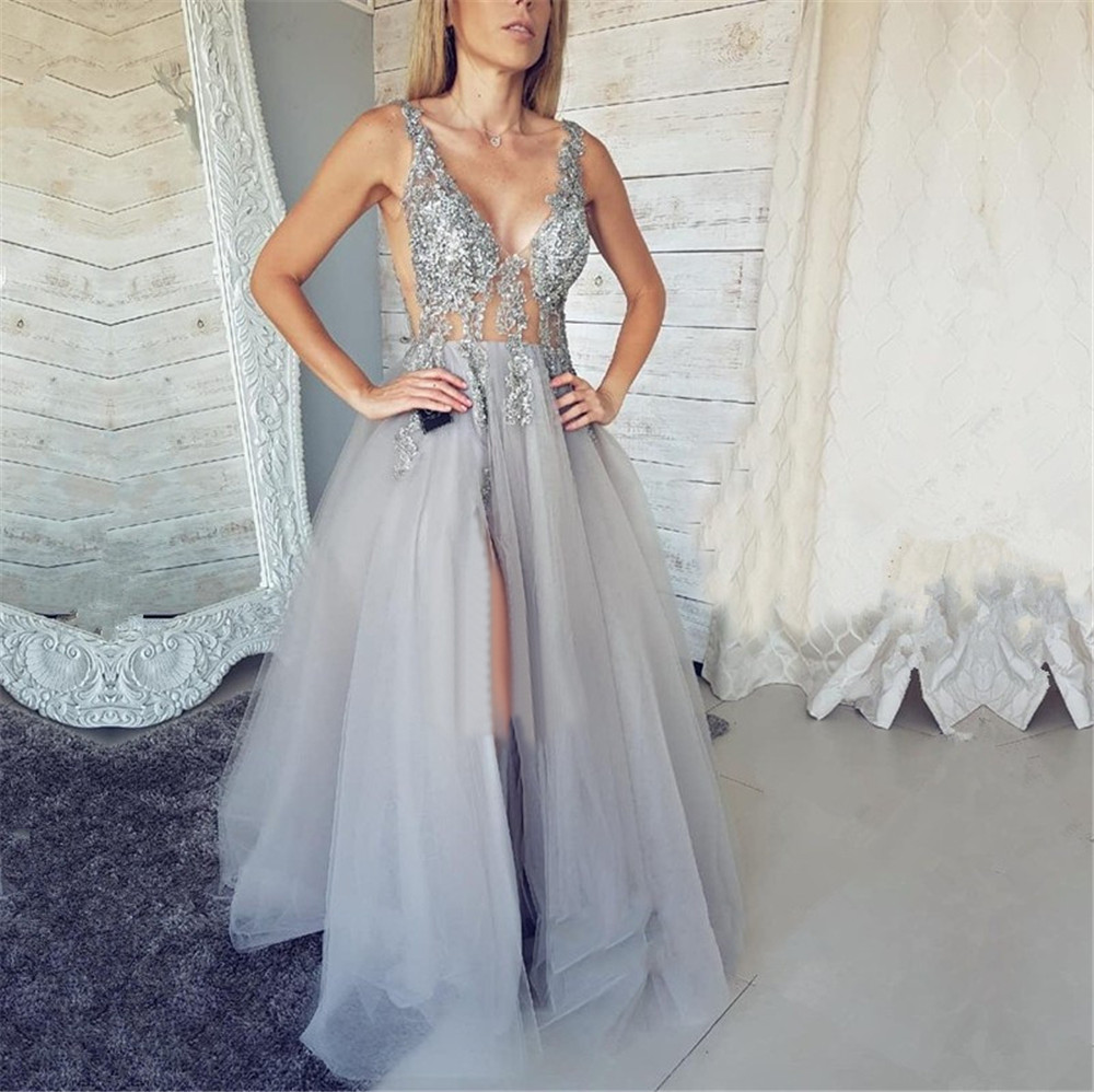 New 2019 Sliver Lace Tulle   Evening     Dress   Illusion Backless High Split Sexy Long Prom Gown Custom Made Women Occasion   Dresses