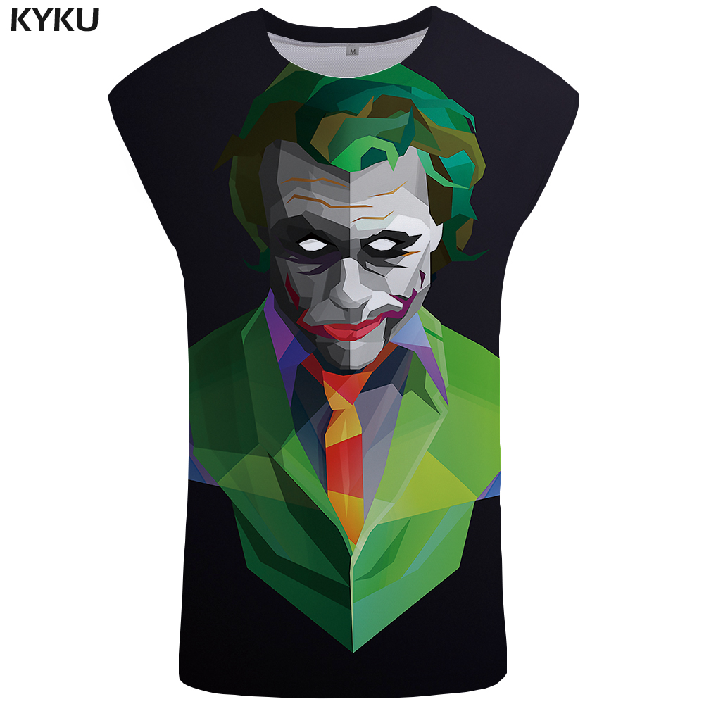 KYKU Brand Clown   Tank     Top   Men Character Singlet Black Ftness Clothing Gothic Mens Bodybuilding Trend Vest Undershirt