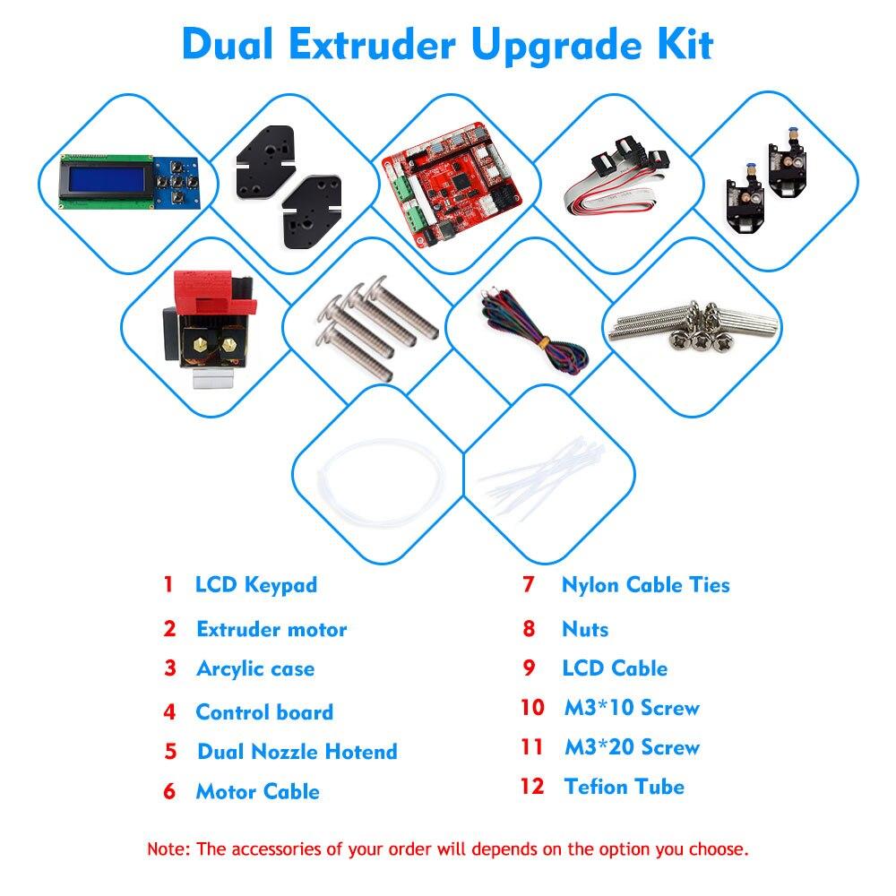 ZONESTAR nouveauté 3D Imprimante Double/Mixte Extrudeuse Kit de Mise À Niveau pour P802N P802M P802Q A8 Deux ou couleur mélangée impression