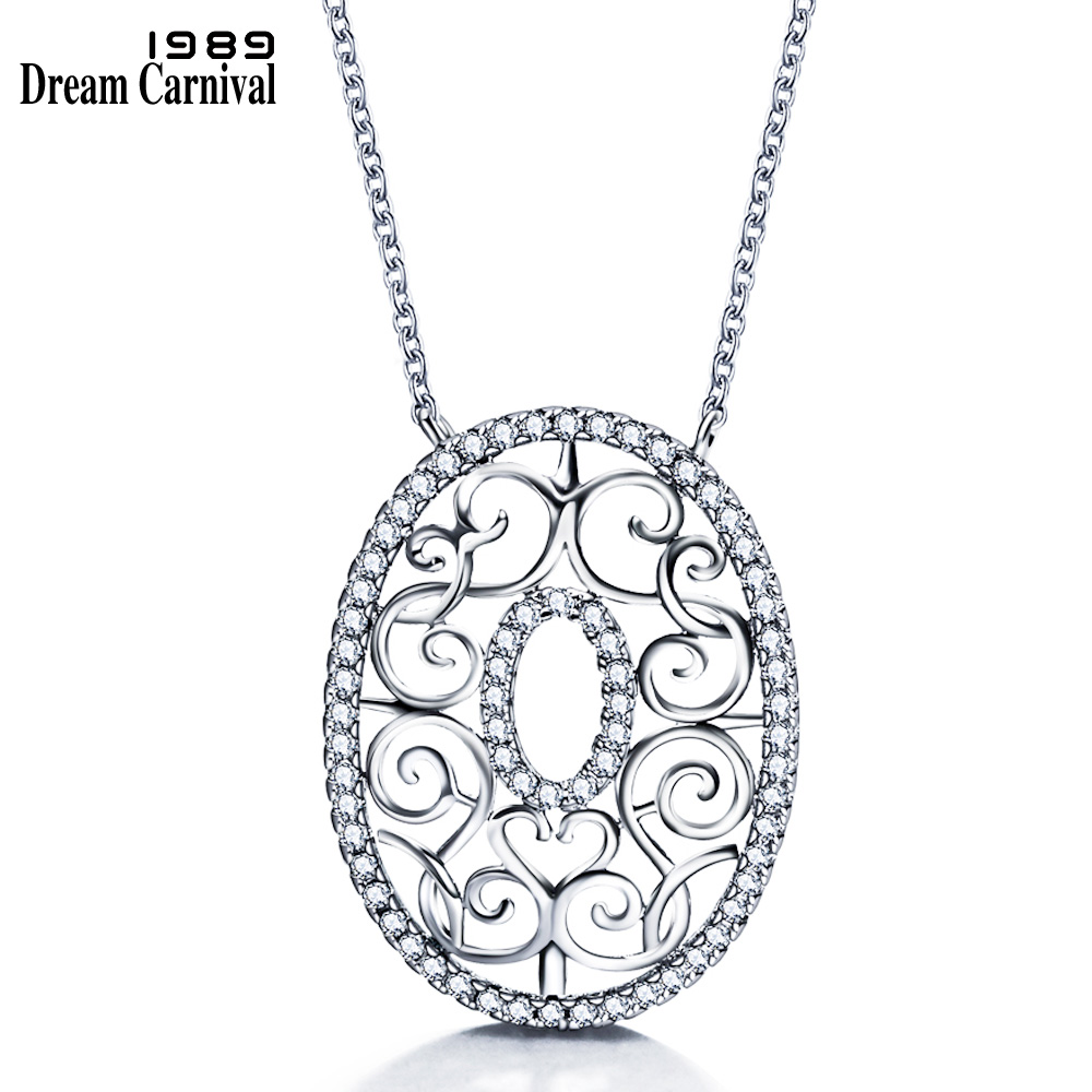 DreamCarnival 1989 Deluxe Rhodium Color Chain Necklace for Women Spiral Heart Oval Pendant Costume Jewels Collier Bijoux Collana chain