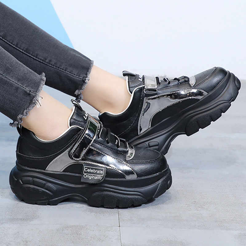 Shoes Woman Bling Thick-soled Lace-up Platform Shoes Female Sneaker White Black Leather Laser Sneakers Chunky Ladies Shoes L1903