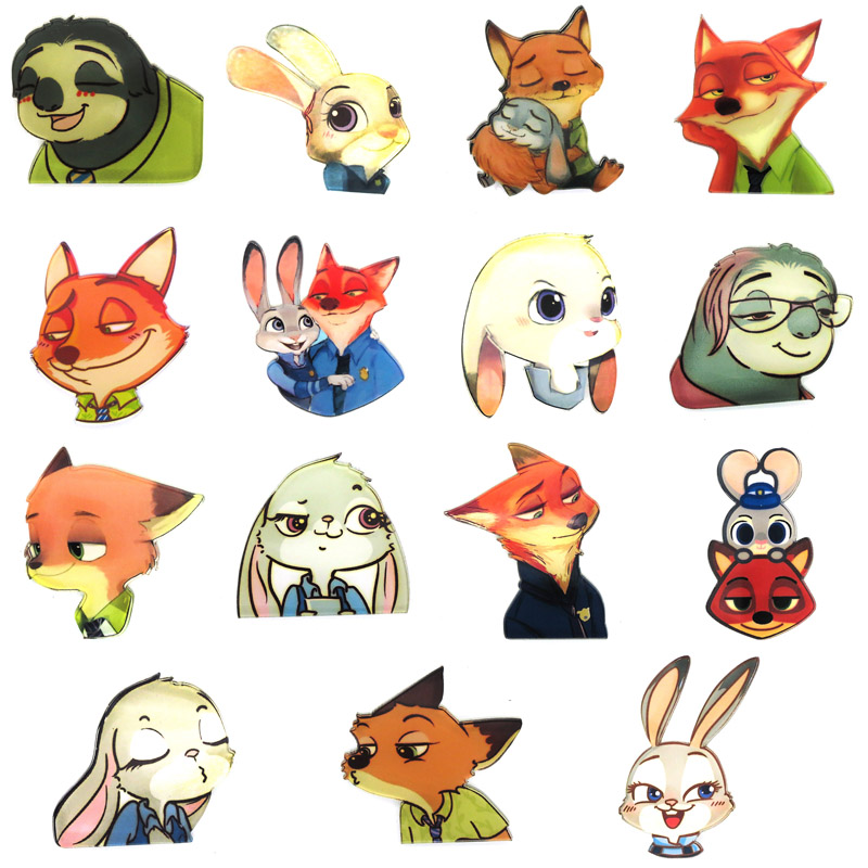 100pcs cute animal Sloth brooches lapel pin acrylic anime cartoon cop Police rabbit fox brooch Badges