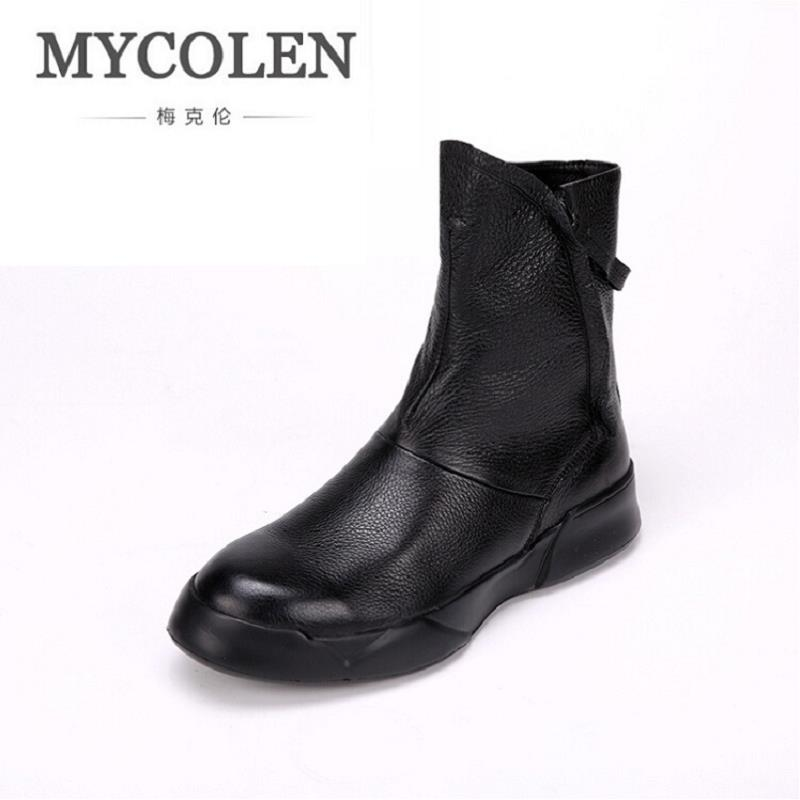 MYCOLEN Genuine Leather Men Boots Brand Winter Men's Zip Working Boots Shoes High Quality Men Ankle Boots botas masculinas