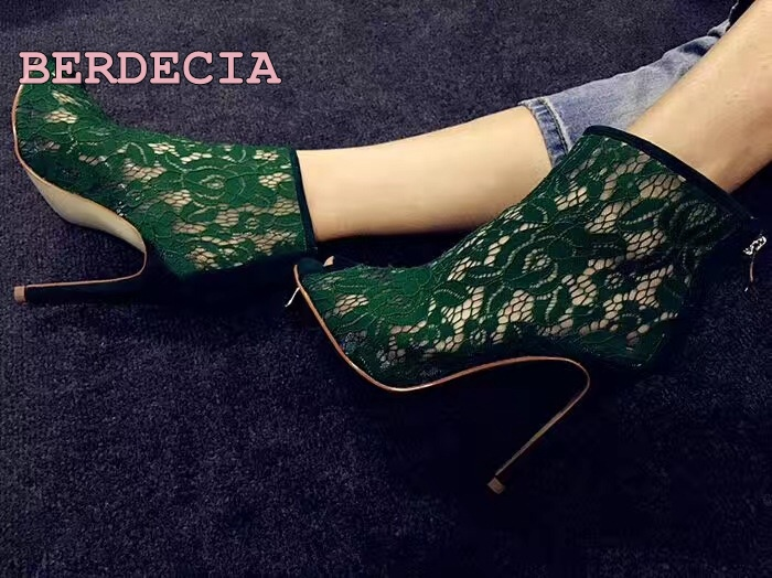 Unique design green lace hollow out boots peep toe stiletto heel ankle boots fashion female dressing  party stage sexy shoes new design nubuck leather lace up women pumps peep toe hollow out super stiletto high heel shoes multi color optional footwear