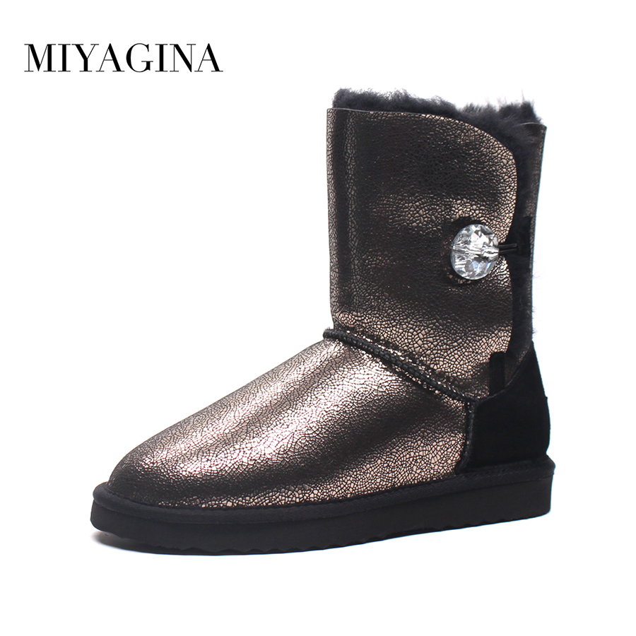 MIYAGINA High Quality! genuine Sheepskin Real Fur 100% Wool women winter snow boots, China Brand boots Free Shipping free shipping classic natural fur real wool genuine sheepskin leather snow boots for women winter shoes high quality page 2