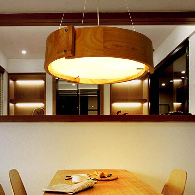 Style nordique restaurant lustre en bois massif personnalité créative tête unique bar table suspendue ligne lampe bois led chambre lampe