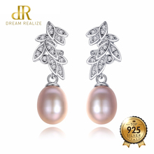 DR Brand Bohemia Korean Style Freshwater Pearls and Shiny Zircon 925 Sterling Silver Real Natural Pearl Stud Earrings for Women