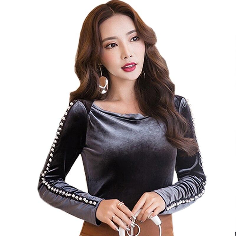 2017 Blouse Shirt Autumn Winter Velvet Blouse Beaded Plus Velvet Tops Women Shirt Thick Long sleeved Slim Primer Shirt Women