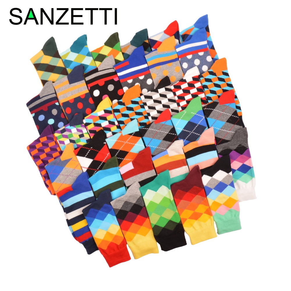 SANZETTI 5 pair/lot Funny Pattern Bright Colorful Men Socks Argyle Oil painting Dot Striped Combed Cotton Crew Wedding Socks