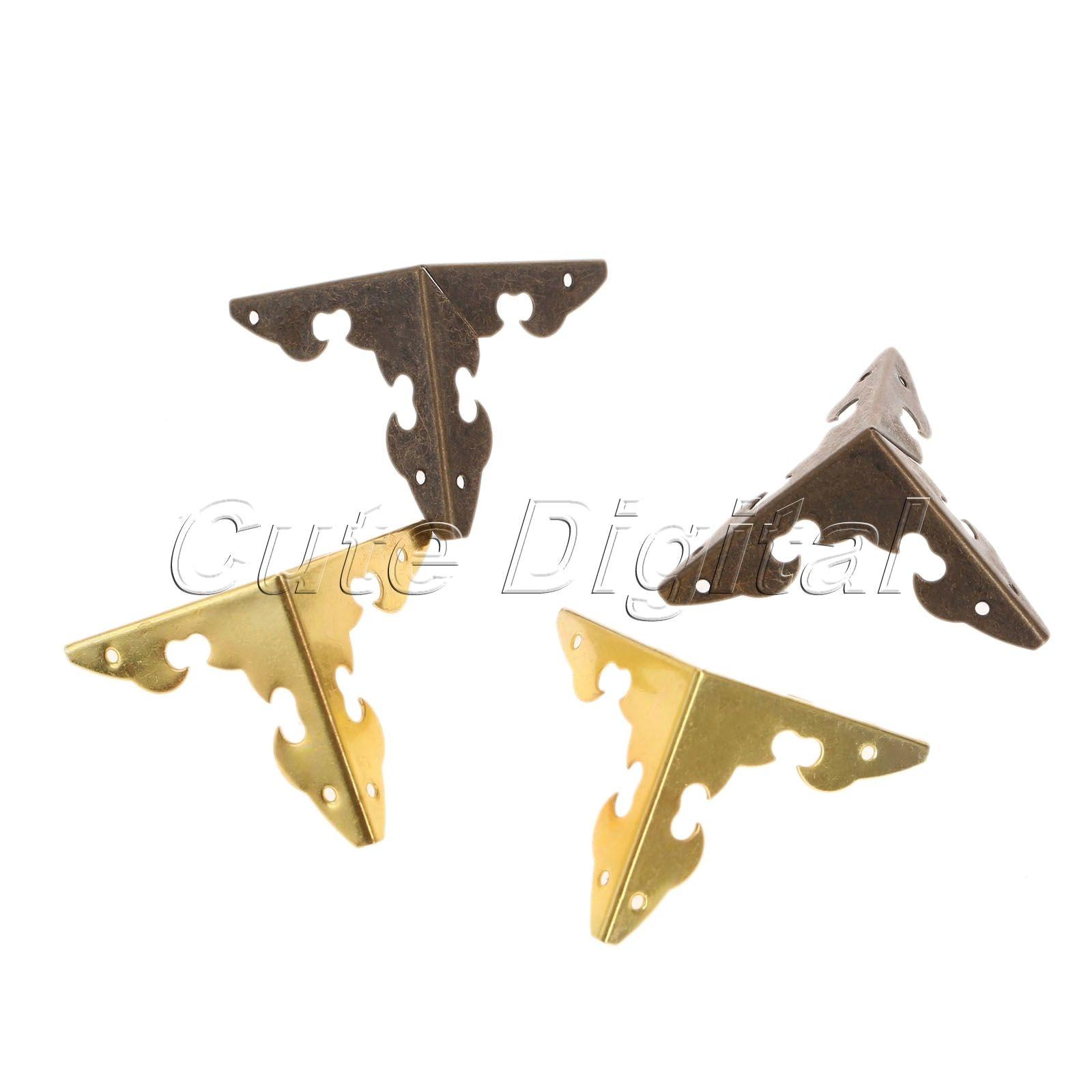 12pcs Antique Bronze/Golden Decorative Metal Corner Brackets For Furniture Wooden Box Feet Corner Protector W/ Screws 30x30x30mm