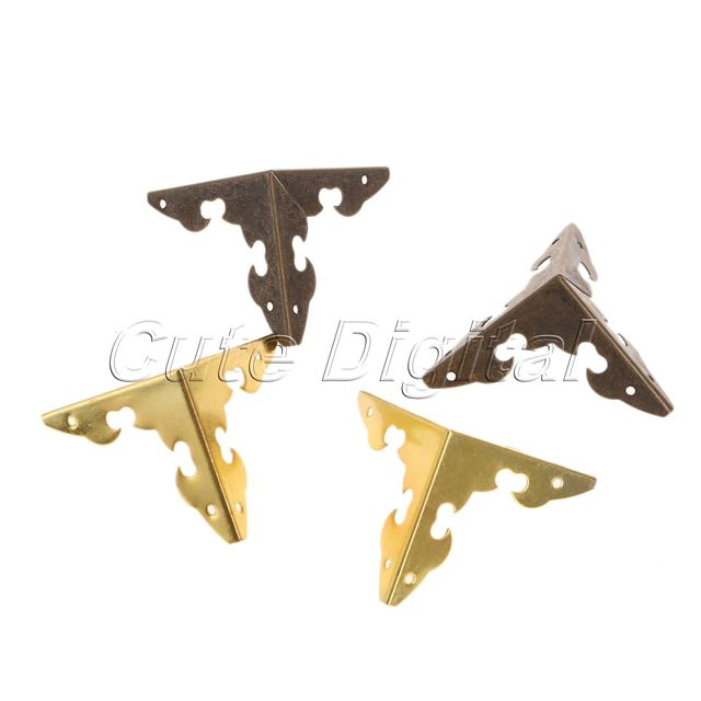 12pcs Antique Bronze Golden Decorative Metal Corner Brackets For Furniture Wooden Box Feet Protector W S 30x30x30mm